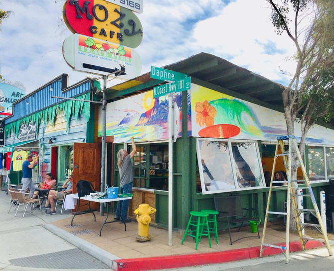 "NEW Mural in Progress at ""Mozy Cafe"" in Leucadia"
