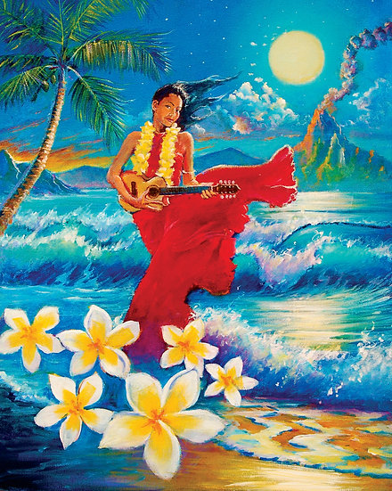 "Hawaiian Moonlight Siren 30""x 24"""