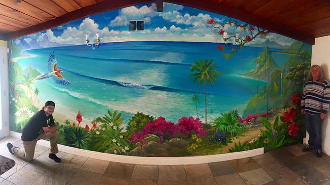 "NEW Mural on a living room wall in Oceanside ""on a cliff high above a tropical paradise"""