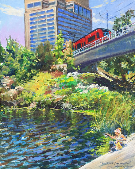 """Trolley - San Diego River  16""""x 20"""""""