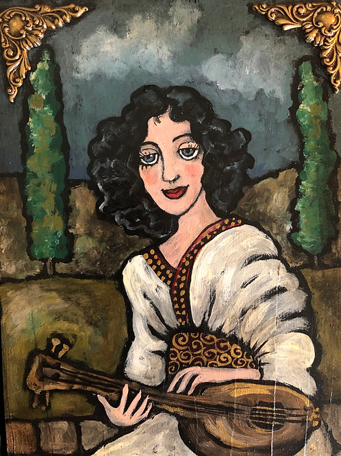 LUTE GIRL * Acrylic wood Painting