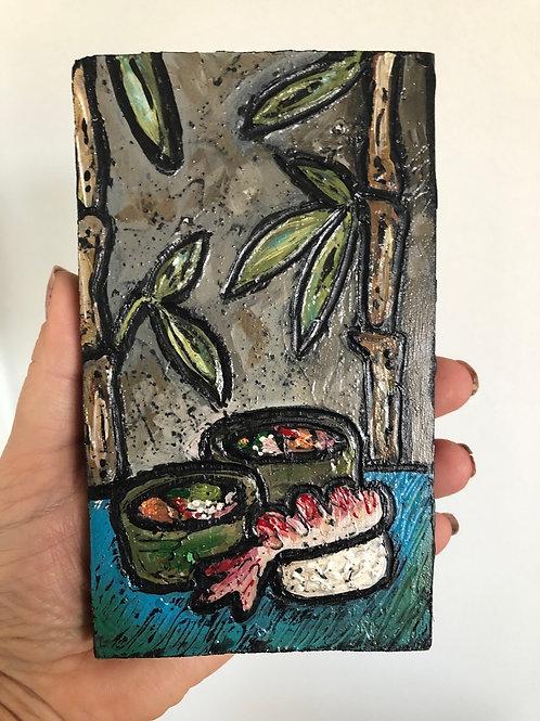 SUSHI * Mini Wood Block Textured Painting