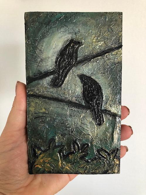 BLACKBIRD * Mini Wood Block Textured Painting