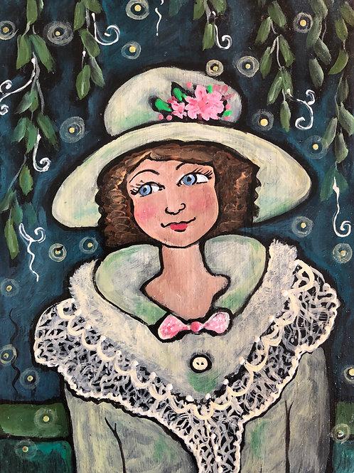LADY FIREFLY * Acrylic wood Painting