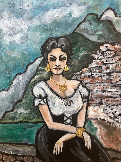 SOPHIA IN POSITANO * Mini Acrylic Painting