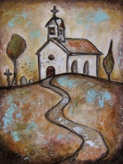SUNSET CHURCH * Textured Acrylic Painting