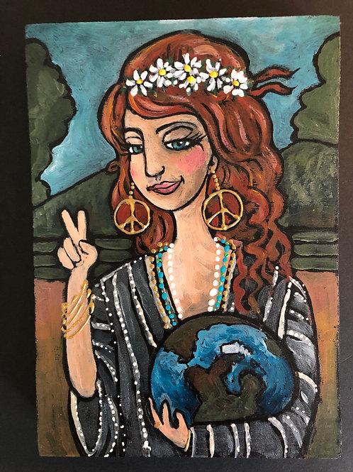 EARTH GIRL * Acrylic Wood Painting