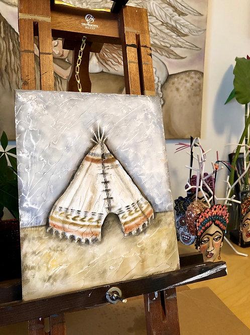 TINY TEEPEE * Textured Tribal Boho Painting