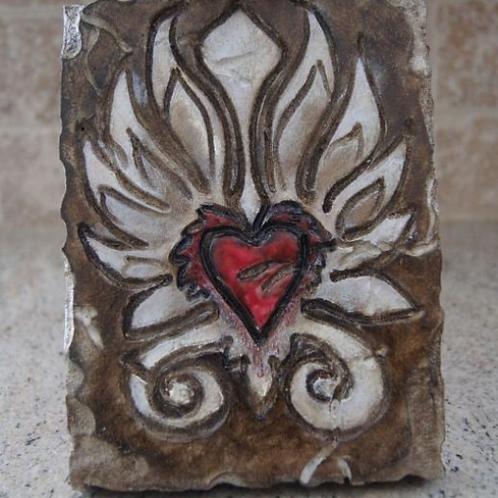 HEART IN FLAMES * Artifact Plaque Love Series