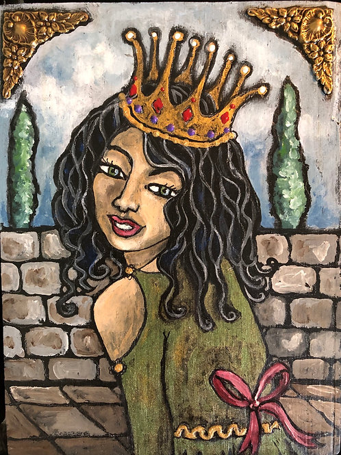 PRINCESS MILEY * Acrylic wood Painting