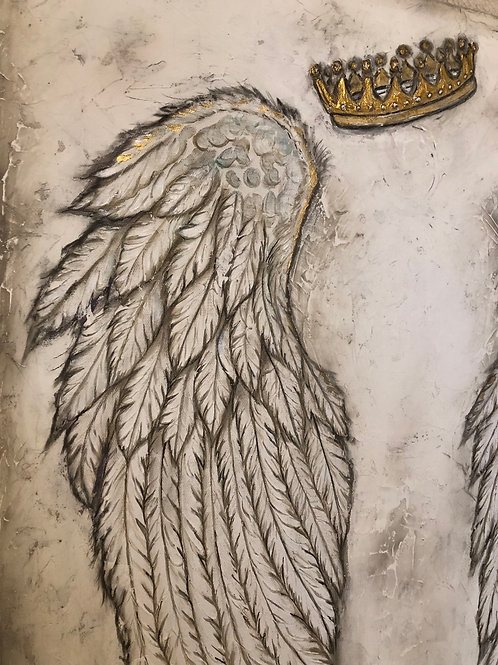 GUILDED * Textured Angel Wing and Crown Painitng