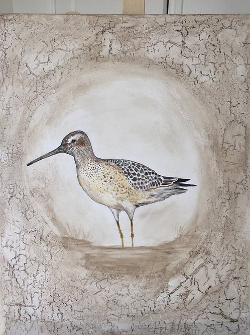 SANDPIPER * Textured  Crackled Coastal Painting