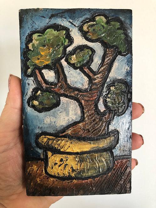 BONSAI * Mini Wood Block Textured Painting
