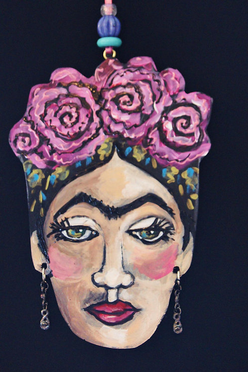 LAVENDER ROSE * Frida Kahlo Hanging Collectors Ornament
