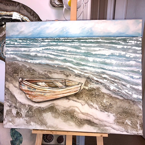BEACHED * Crackle Textured Seascape Acrylic Painting
