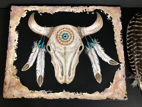 BLACKHAWK SKULL * Textured Skull, Mandalla, Feathers