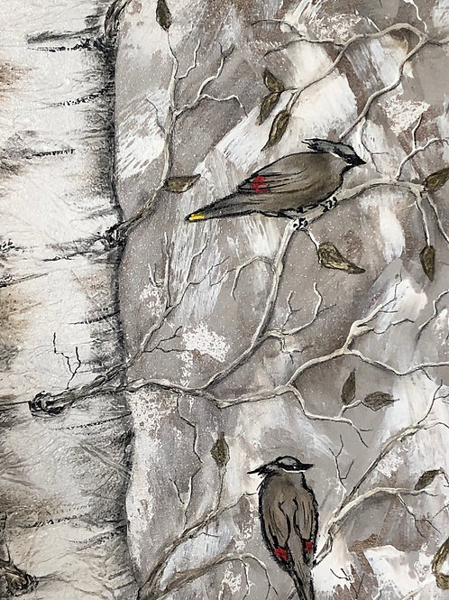 CEDAR WAXWING *  Birchtree Textured Painting