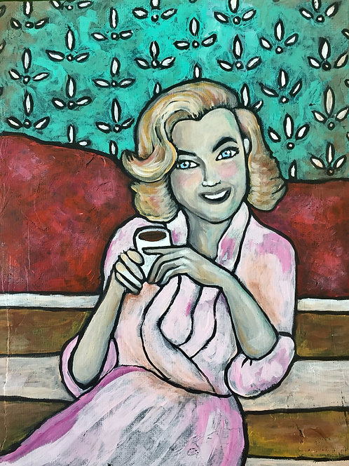 MORNING COFFEE * MidCentury Mini Acrylic Painting
