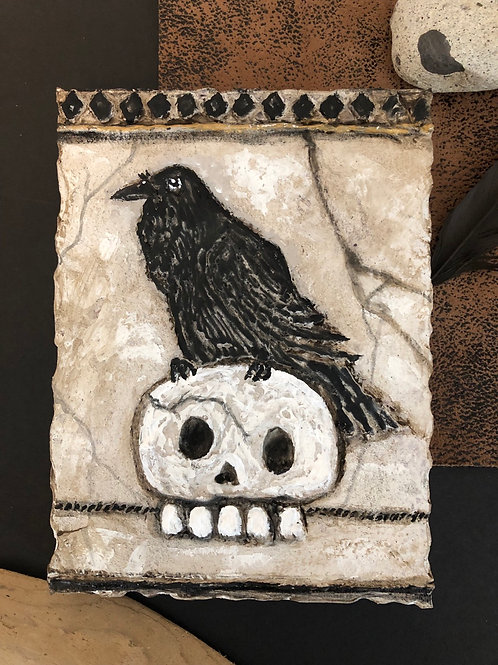 RAVEN & SKULL * Artifact Plaque White Series