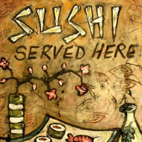 SUSHI HERE SOLD ** BUY PRINTS TOTES TRAYS AND MORE