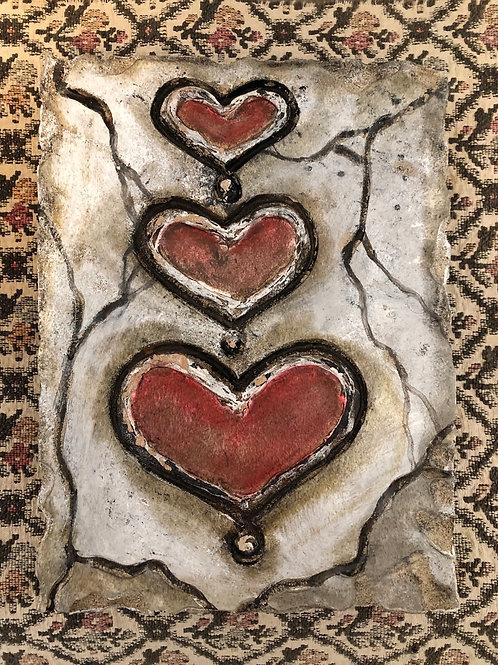 THREE HEARTS * Artifact Plaque Love Series