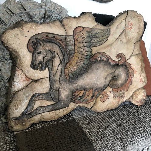 WINGED HORSE * Carved Wall Plaque
