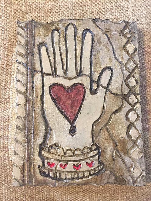 HEART IN HAND * Artifact Plaque Love Series
