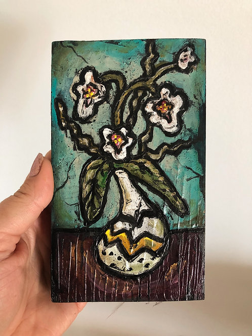 ORCHID * Mini Wood Block Textured Painting
