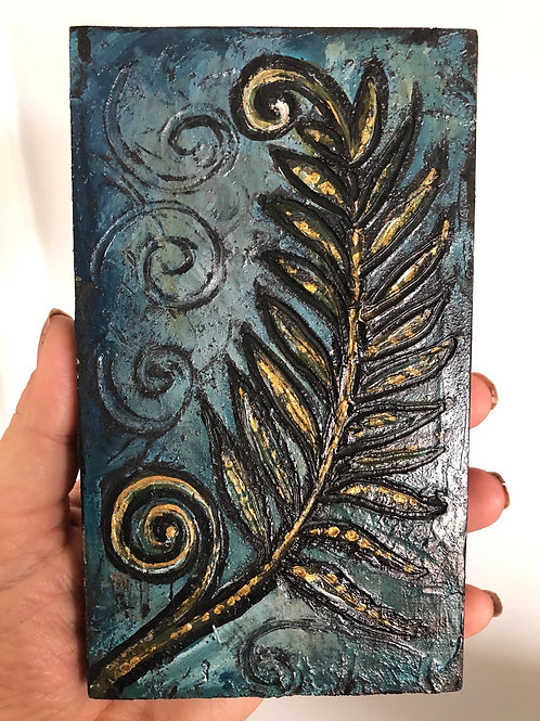 FERN * Mini Wood Block Textured Painting