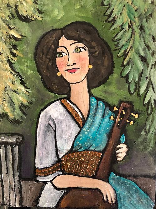 ANOOSHA'S LOVE * Acrylic wood Painting