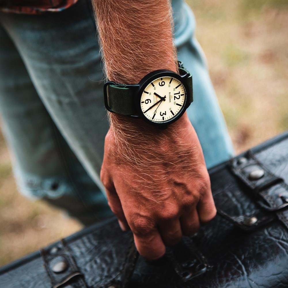 Bussora Retro Pilot Nero watch zulu strap cream dial vintage