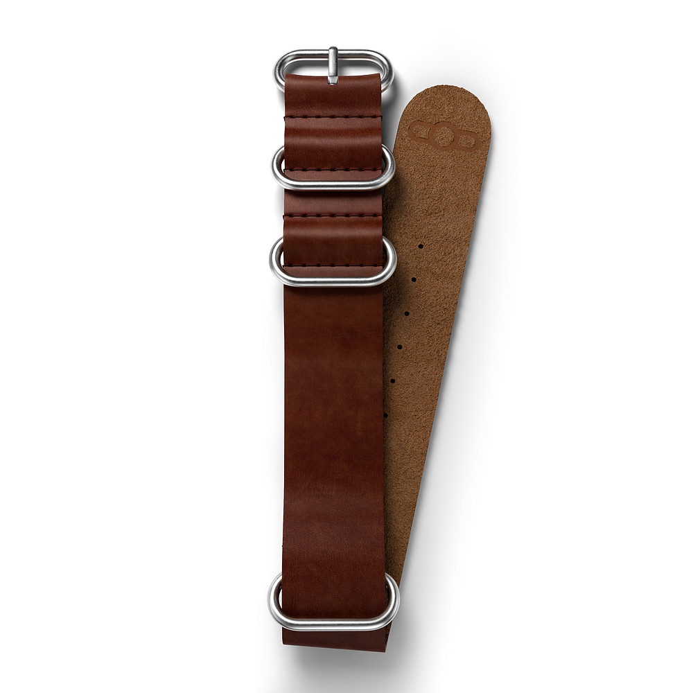ZULU Leather Strap in Marrone Cioccolato brown watch band 316L Stainless Steel brushed sandblasted finish