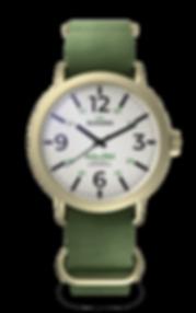 Bussora Retro Pilot D'Oro Verde Militare ZULU strap watch