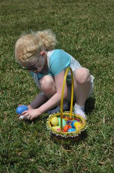 Easter Egg Hunt: Young Girl finding Easter Eggs