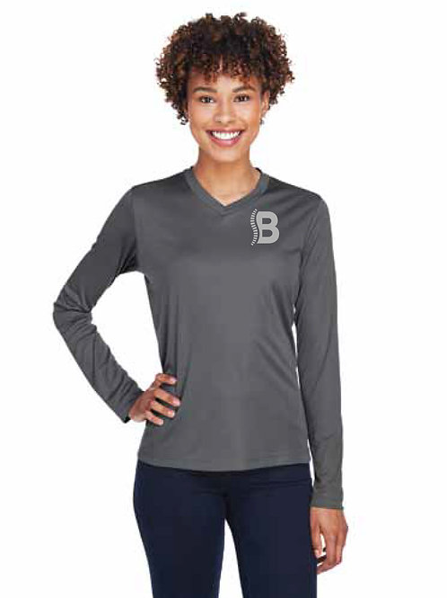 Team 365 Ladies Long Sleeve Reflective Logo