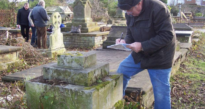 Conservation trainees working in the Old Cemetery