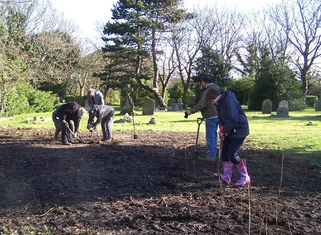 The Friends planting a screen around the green waste area