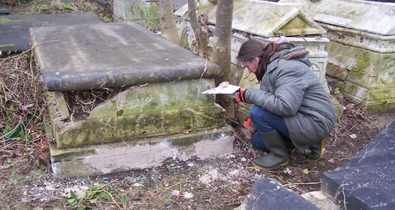 Trainee Cathy applying lime mortar, 2013