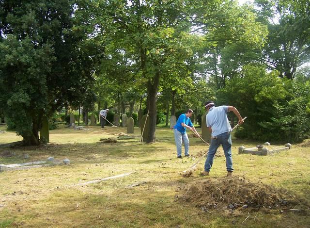 The Friends, raking cuttings