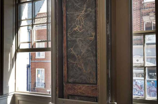 Historic marbling, after conservation
