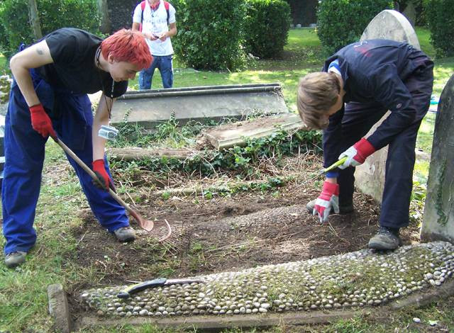 East Coast College students on work experience in the Cemetery