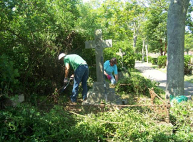 Friends clearing grave in the New Cemetery, 2013