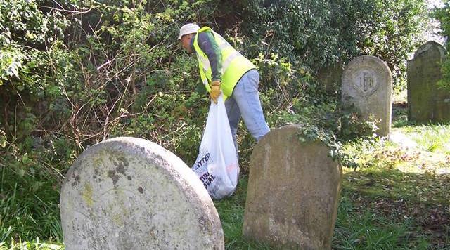 Churchyard litter pick