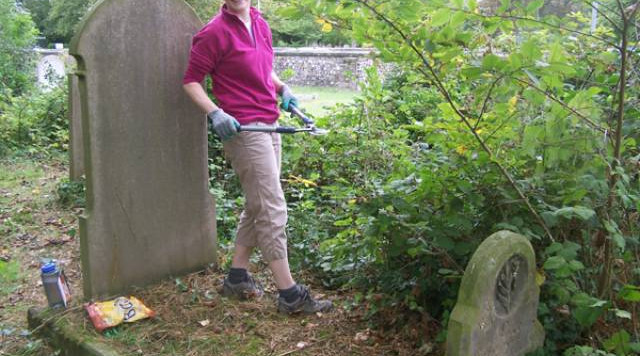 Sarah working in the New Cemetery