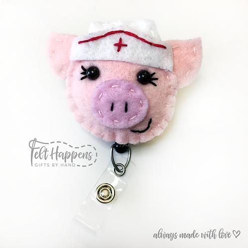 Nurse Pig Badge Holder