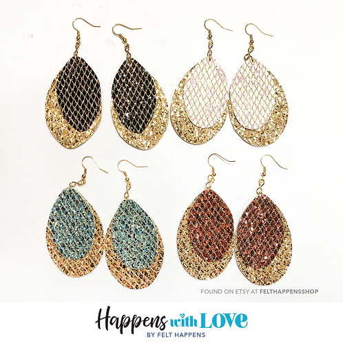 Gold and Color Teardrop Earrings