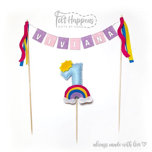 Rainbow Cake Topper Set