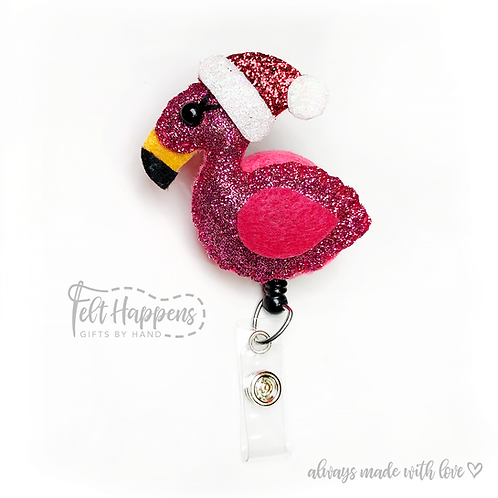 Seasonal Flamingo Badge Holder