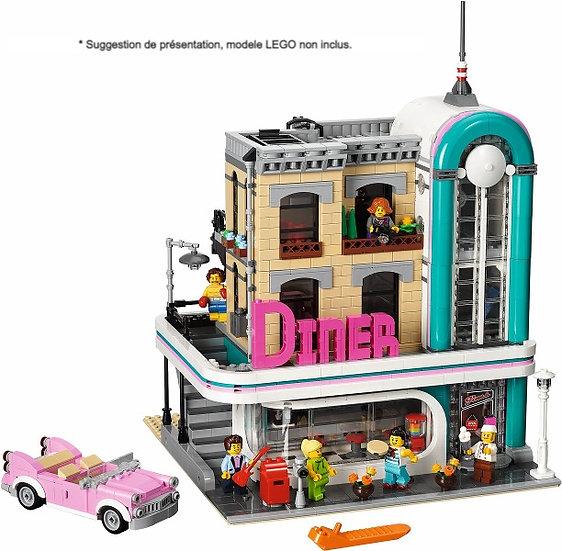 Vitrine BriquesaBoX pour Le Downtown Diner (LEGO® 10260 non inclus).