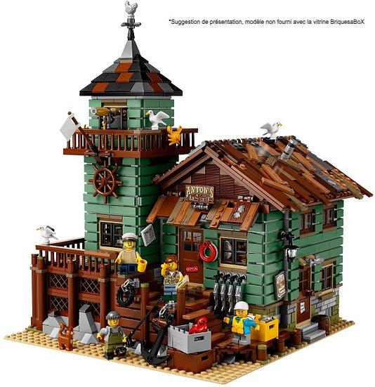 Vitrine BriquesaBoX pour Le Vieux Magasin de Pêche (LEGO® 21310 non inclus)